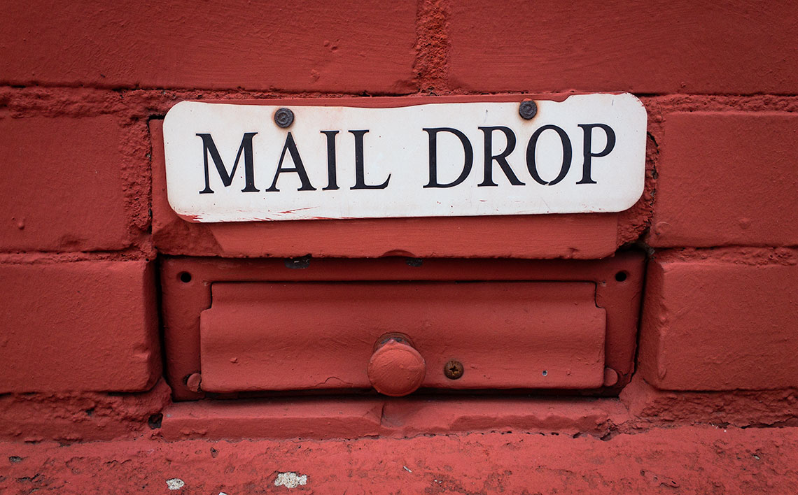 Mail drop on the site of a church
